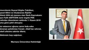 Marmara Üniversitesi'nden Safitürk anısına hazırladıkları defteri ailesine teslim ettiler