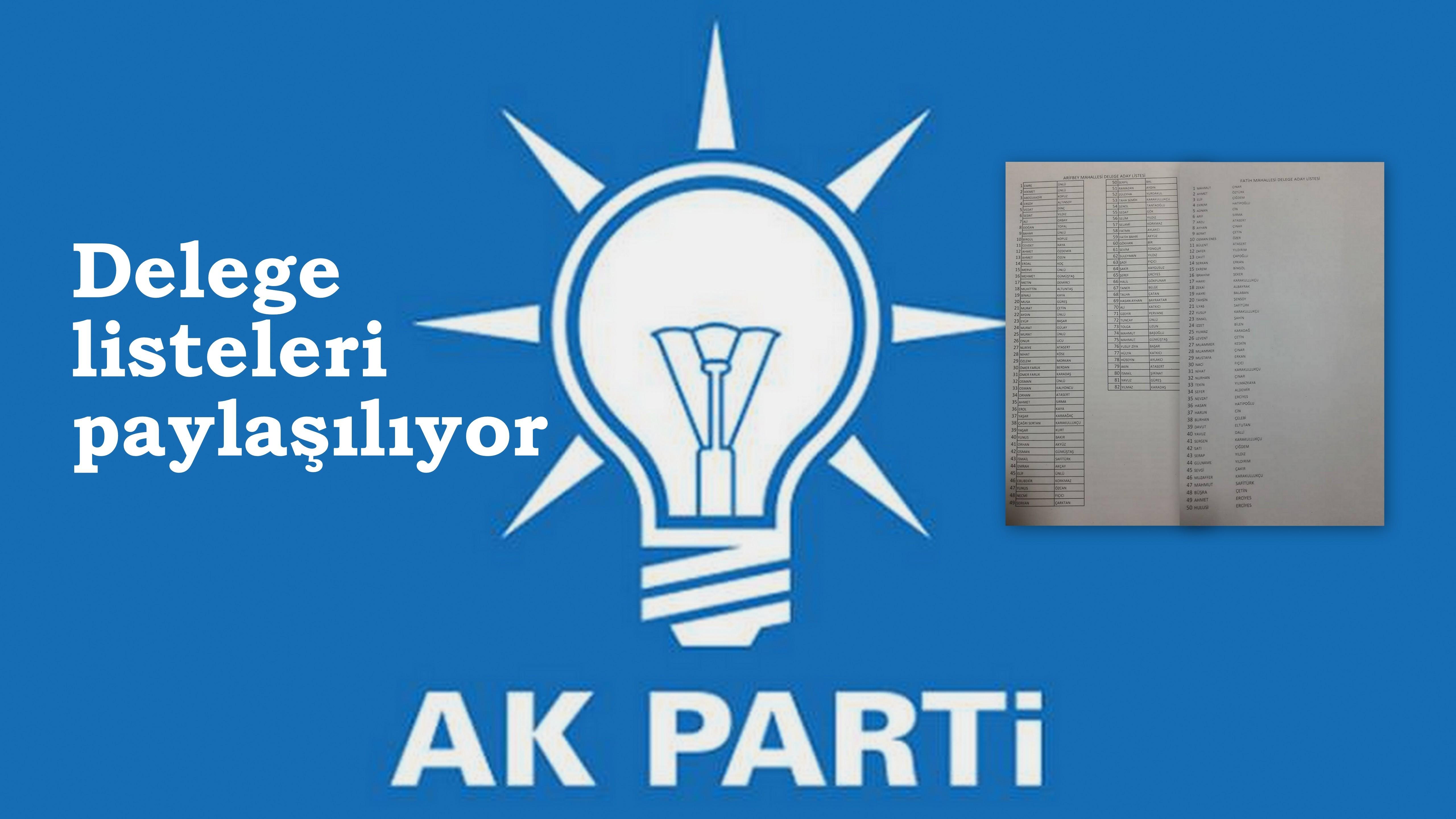 Ak Parti Arifiye İlçe Teşkilatı Delege listelerini paylaşıyor
