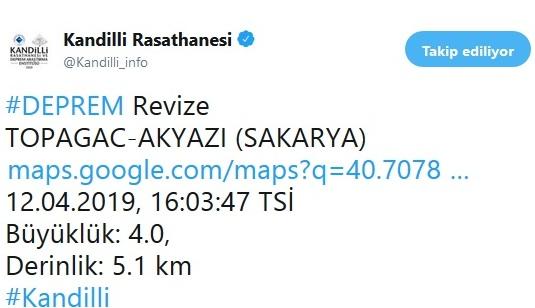 Sakarya'da Deprem Yine Kendini Hissettirdi!