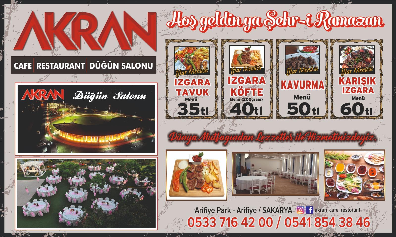 AKRAN CAFE'DE ZENGİN İFTAR MENÜLERİ
