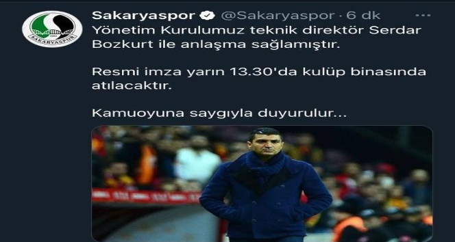 Sakaryaspor'da Teknik Bozkurt oldu.