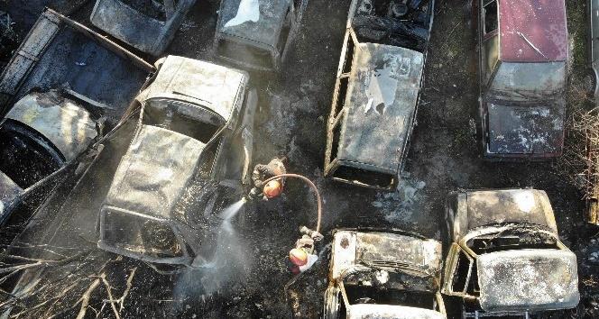 Beşköprü'de Arazide yakılan ateş 30'a yakın aracı kül etti