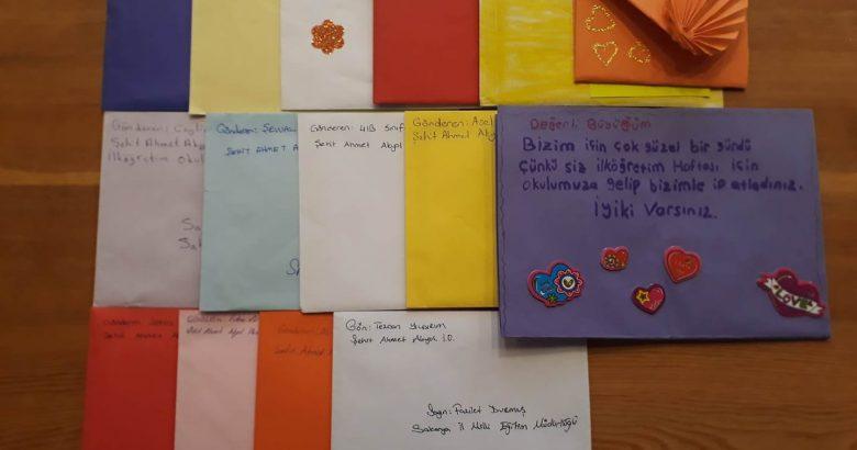 Minik öğrencilerden Durmuş'a sevgi dolu mektuplar