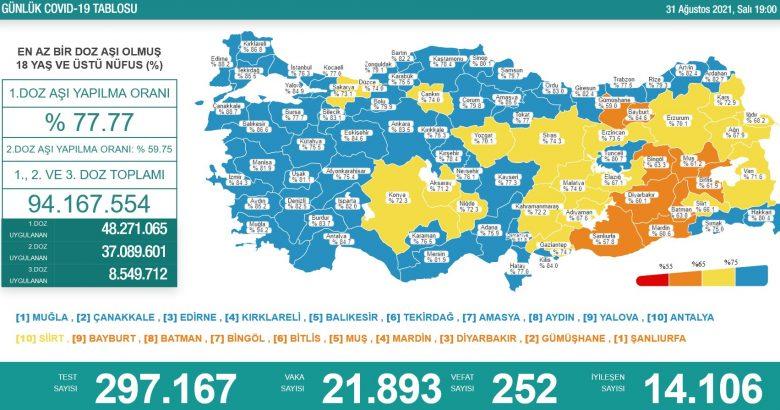 'Bugün 21.893 yeni vaka,252 yeni ölüm'