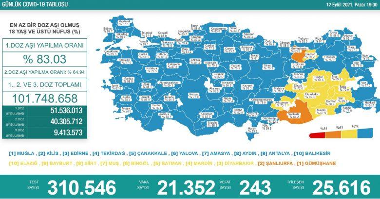 'Bugün 21.352 yeni vaka,243 yeni ölüm'