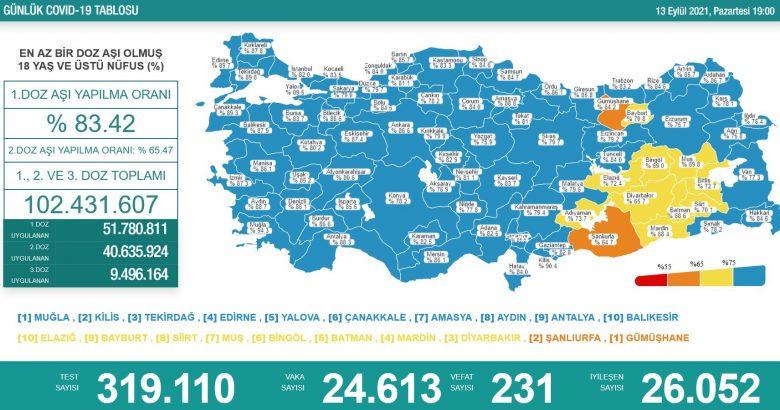 'Bugün 24.613 yeni vaka,231 yeni ölüm'