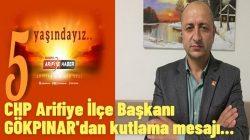 CHP Arifiye İlçe Başkanı GÖKPINAR'dan kutlama mesajı