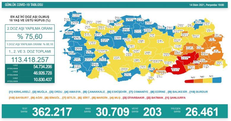 'Bugün 30.709 yeni vaka,203 yeni ölüm'