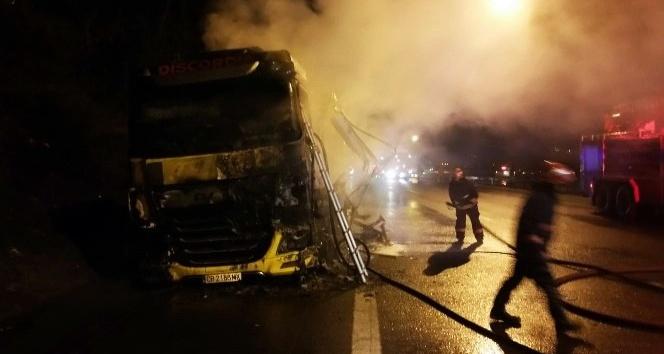 TEM Otoyolu Sakarya geçişinde hafif ticari araç ile tır çarpıştı.