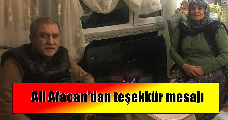 Ali Afacan'dan teşekkür mesajı