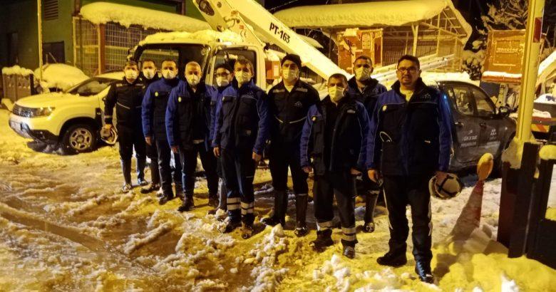 388 kişilik SEDAŞ ekibi kar operasyonuna devam ediyor.
