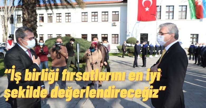 Başkan Ekrem Yüce, Azerbaycan Ankara Büyükelçisi Hazar İbrahim ve beraberindeki heyeti makamında ağırladı.