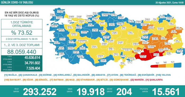 'Bugün 19.918 yeni vaka,204 yeni ölüm'