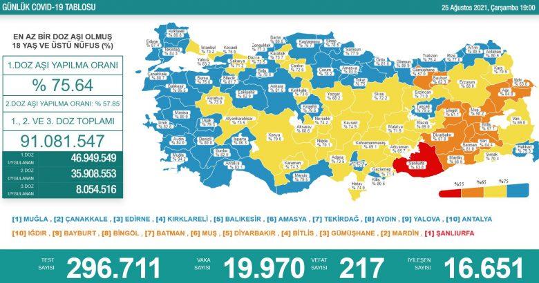 'Bugün 19.970 yeni vaka,217 yeni ölüm'