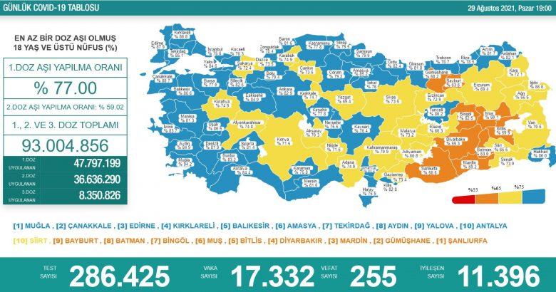 'Bugün 17.332 yeni vaka,255 yeni ölüm'