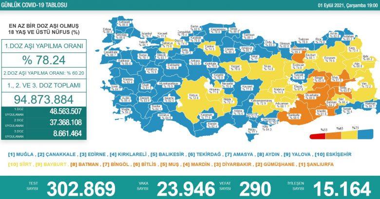 'Bugün 23.946 yeni vaka,290 yeni ölüm'