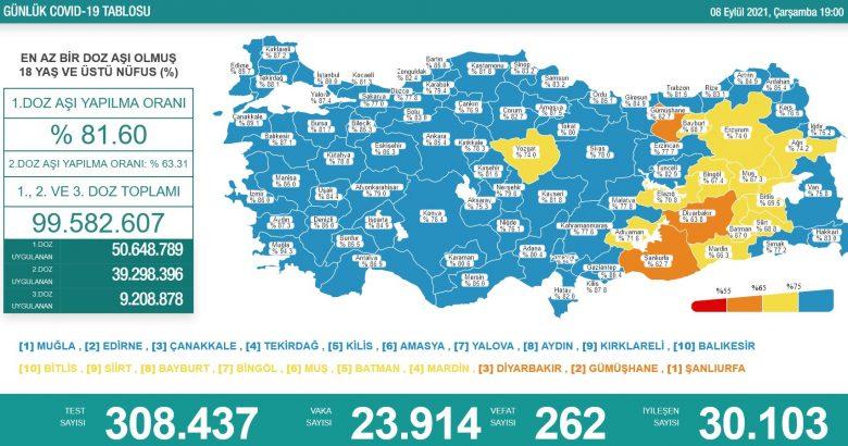 'Bugün 23.914 yeni vaka,262 yeni ölüm'