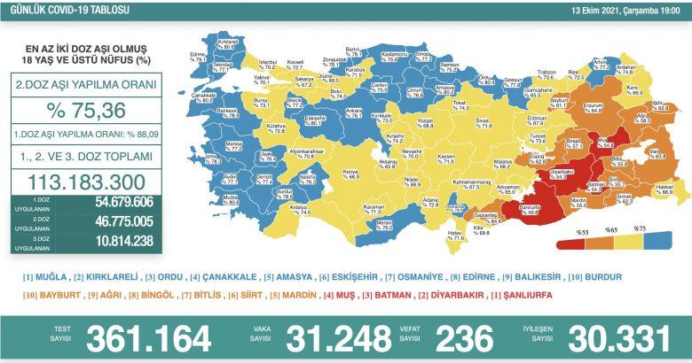 'Bugün 31.248 yeni vaka,236 yeni ölüm'