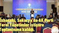 Özhaseki, Sakarya'da AK Parti Yerel Yönetimler İstişare Toplantısına katıldı.